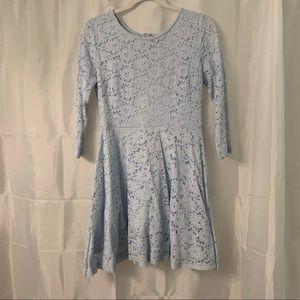 F21 3/4 Sleeve Light Blue Floral Skater Dress